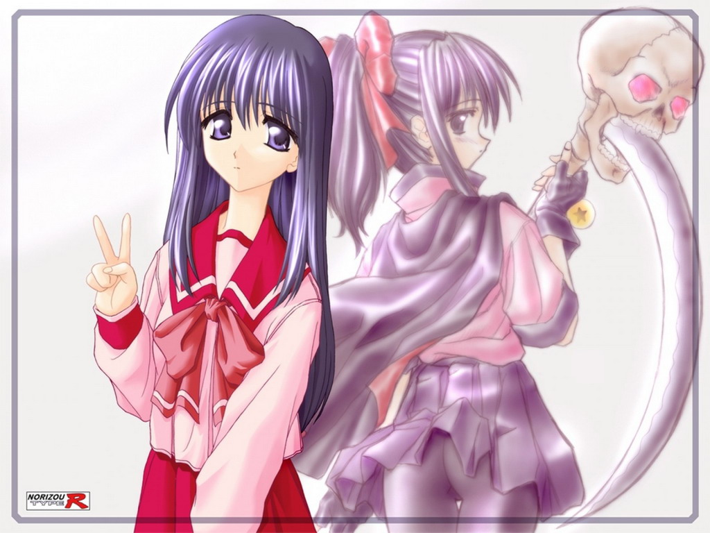 Японская девочка показывает два пальца - обои