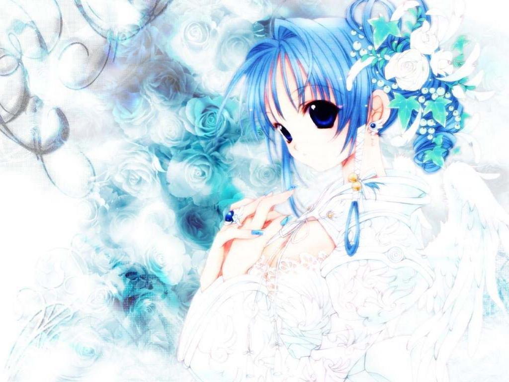 аниме девушки с синими волосами: