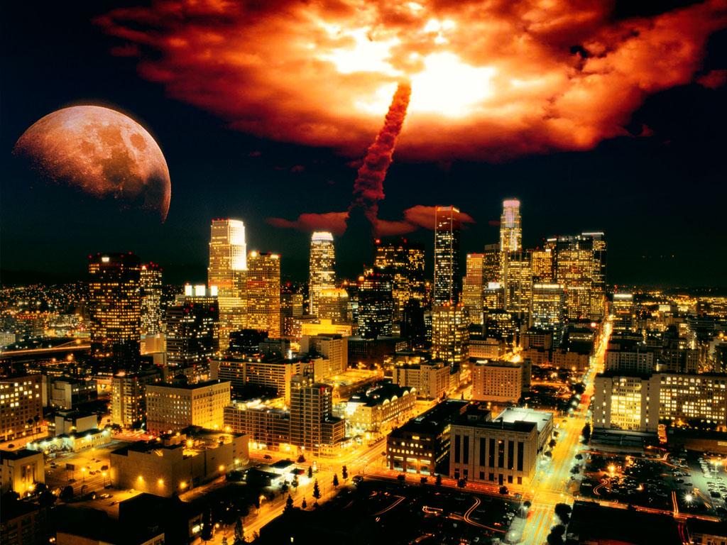 Запуск ракеты из города - обои