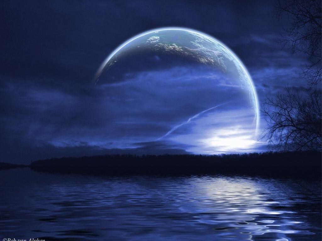 Неземная планета на ночном небе обои