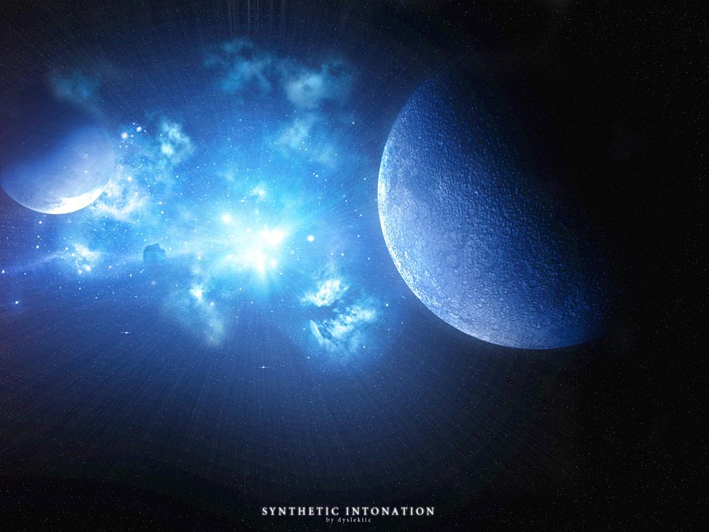 Santhetic Intonation синий свет в космосе обои