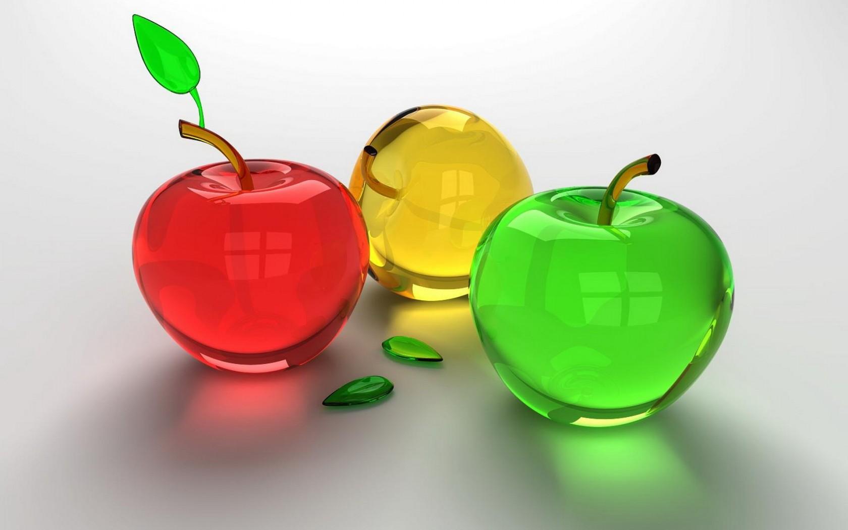 3D стеклянные яблоки обои