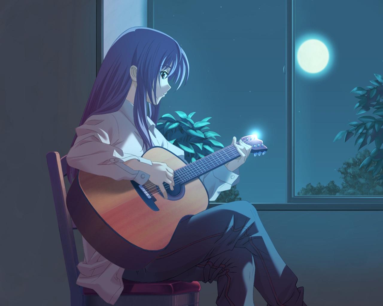 Аниме девушка с гитарой - обои