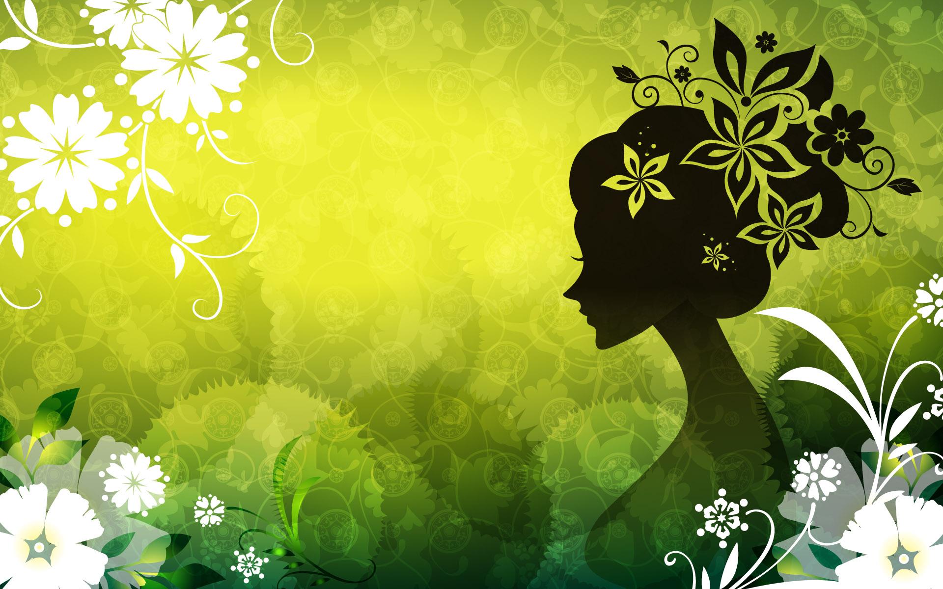 Девушка на светло-зеленом фоне - обои