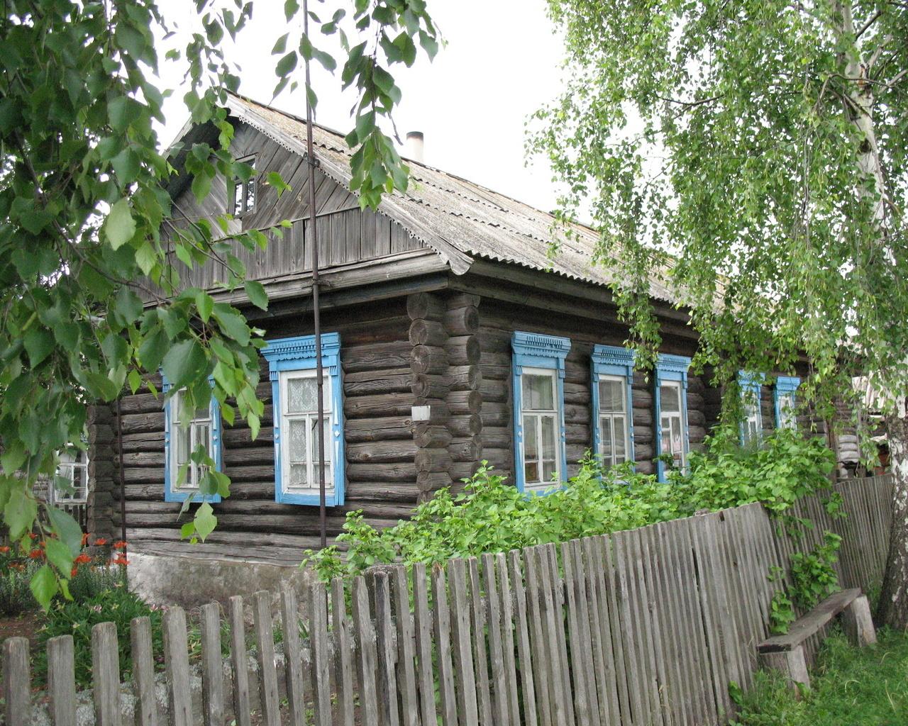 Лето - Домик в деревне обои