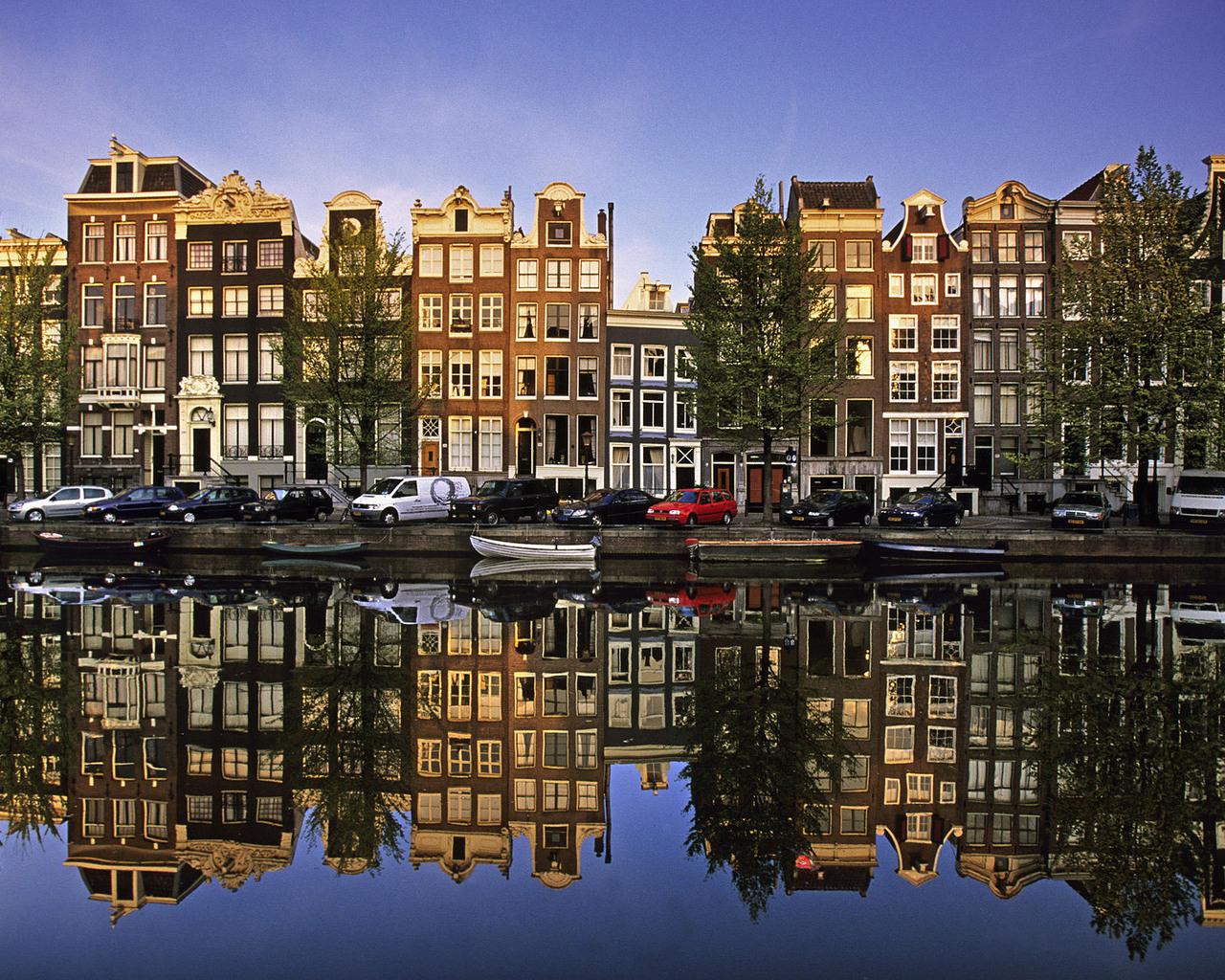 Широкоформатные обои для рабочего стола амстердам