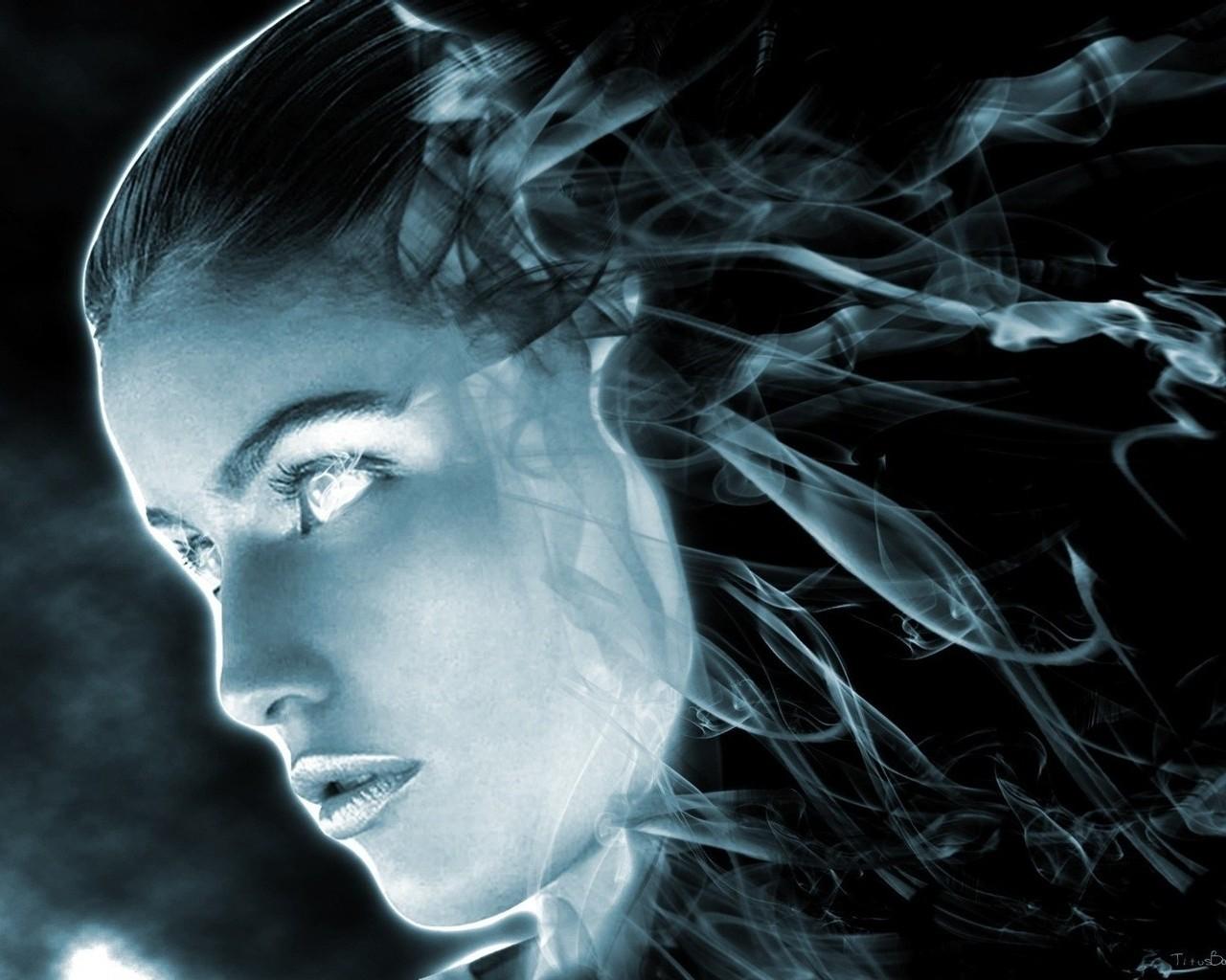 Фото девушка из дыма