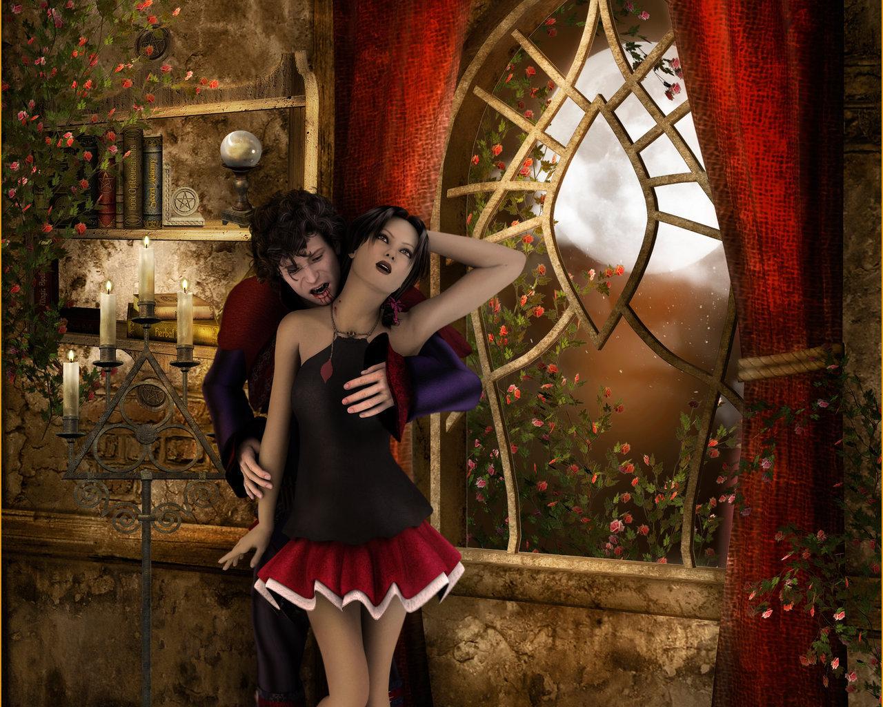 Фото укус вампира девушки
