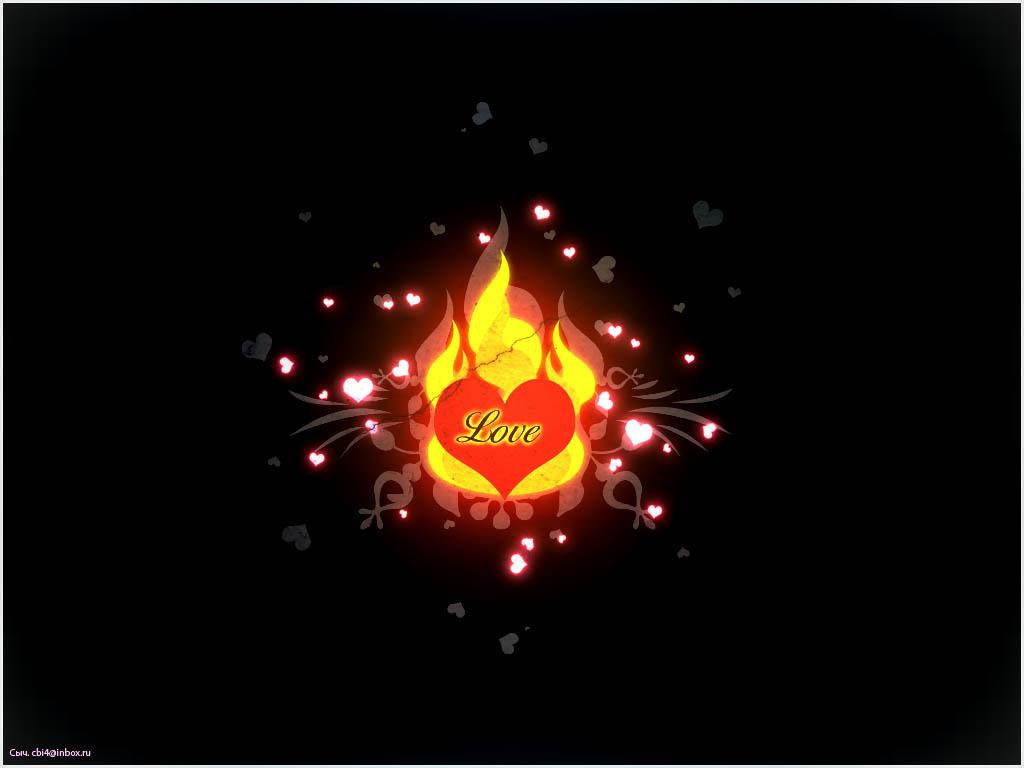 Сердце в огне красивое обои