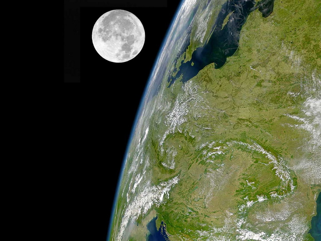 Земля и Луна обои