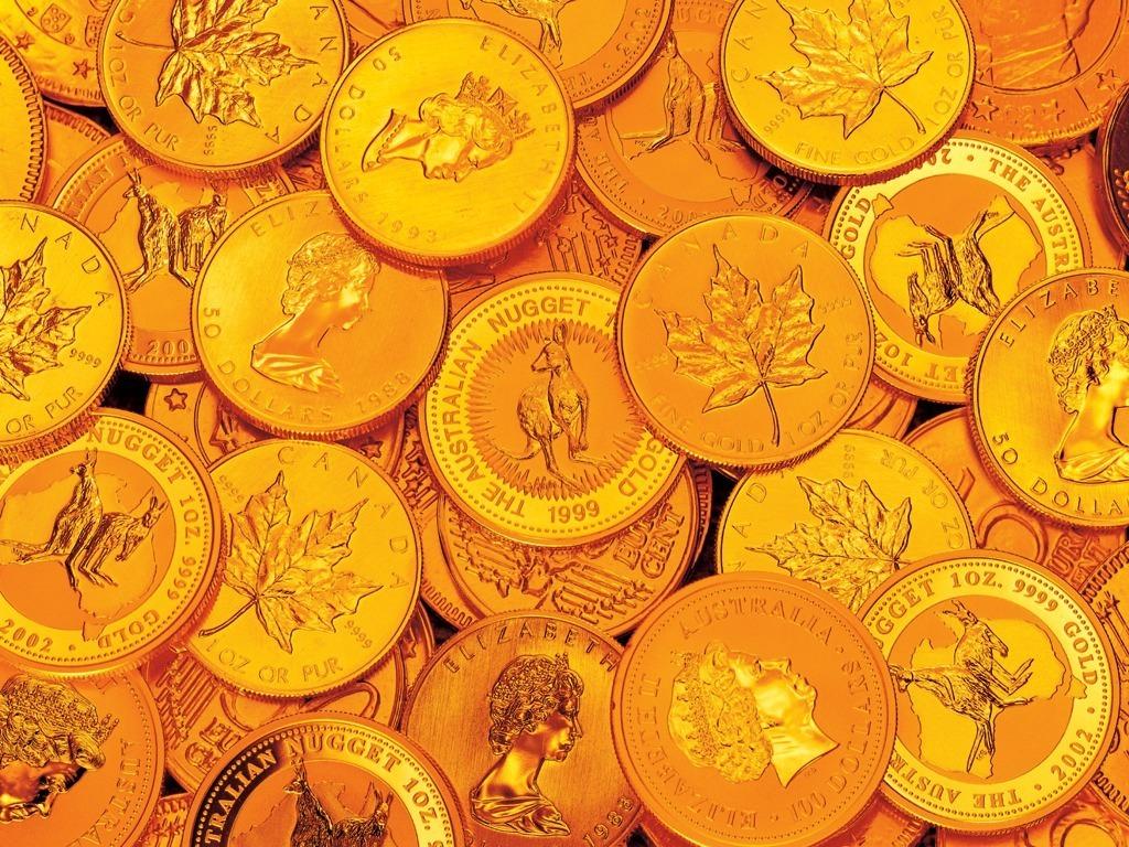 Золотые монеты обои