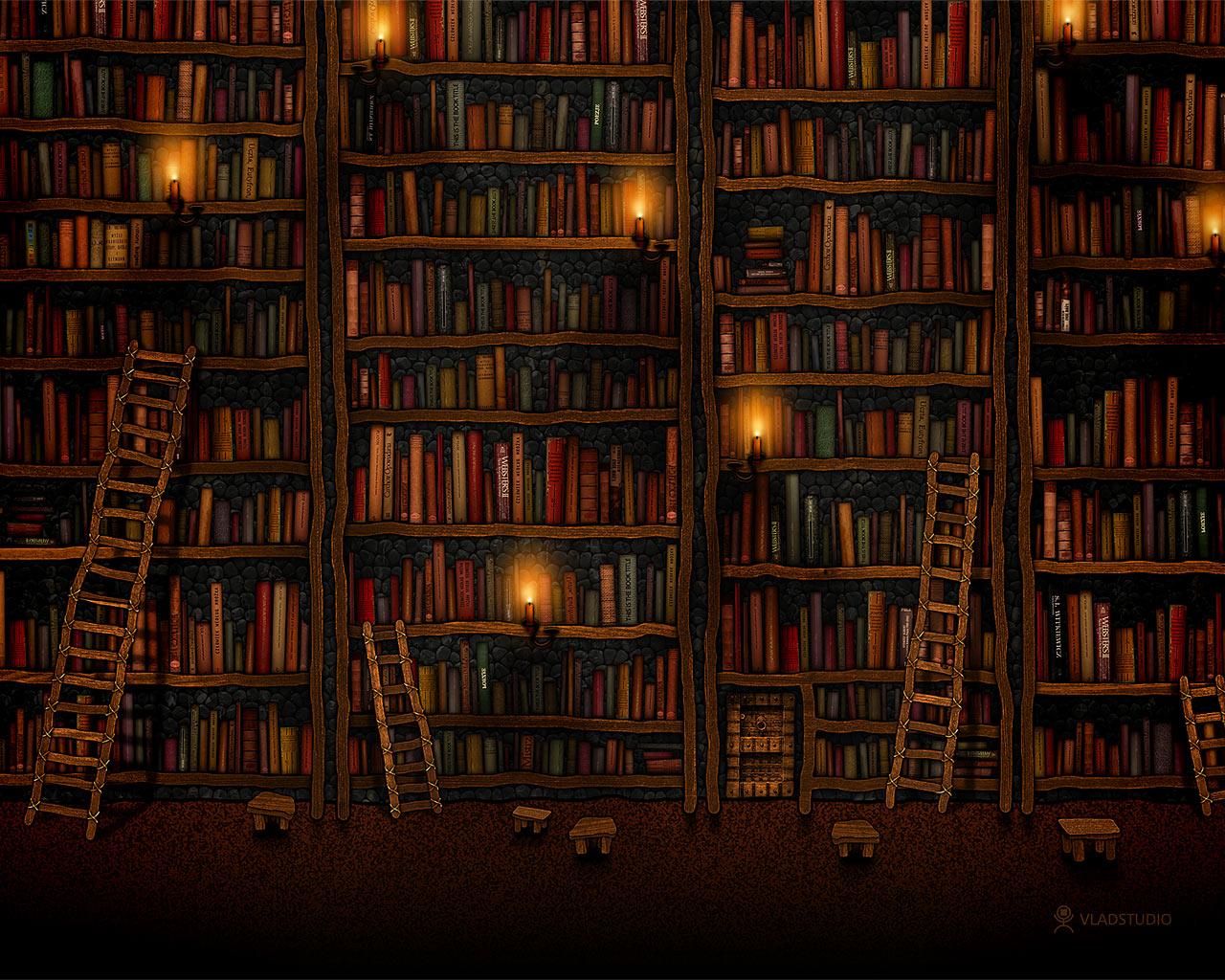Книжные полки обои