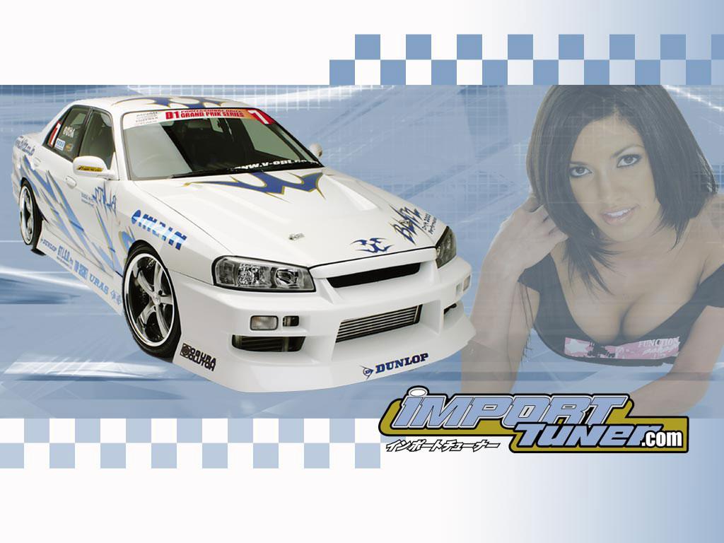 Белый скайлан на фоне девушки - фоновые рисунки на рабочий стол, рубрика - авто и девушки обои
