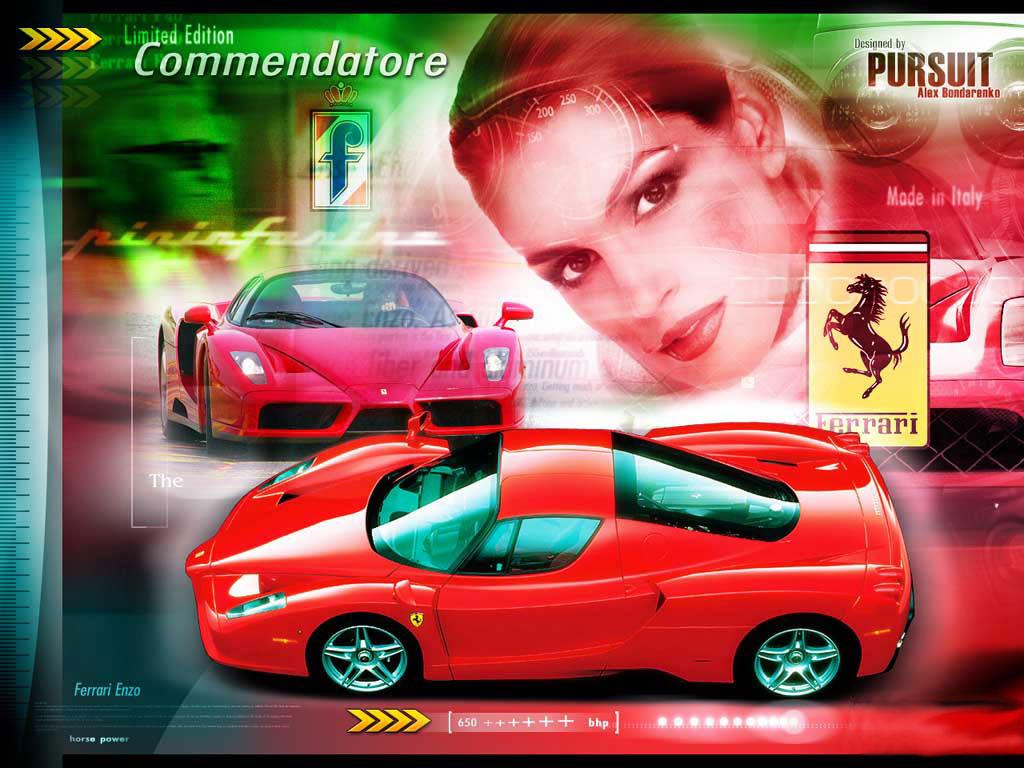 Красное новое феррари из Италии на фоне девушки обои