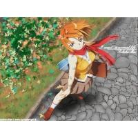 Рыжая девушка на каменной дорожке, картинки и широкоформатные обои для рабочего стола бесплатно
