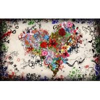 Цветочное сердце, фоновые рисунки на рабочий стол