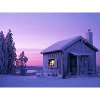 Зимний домик в Швеции - скачать бесплатные обои и картинки