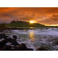 Закат над бушующим морем - обои для большого рабочего стола и картинки