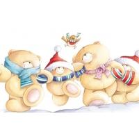 Новогодние мишки Тедди обои для большого рабочего стола и картинки