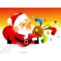 Дед Мороз с хлопушкой фото на рабочий стол и картинки