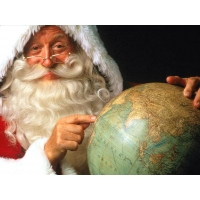 Санта и глобус картинки, фото на прикольный рабочий стол