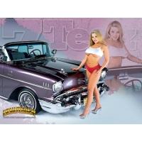 У капота старой модели - картинки, фото на прикольный рабочий стол, тема - авто и девушки