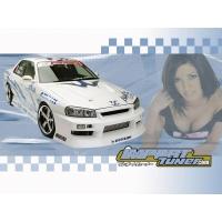 Белый скайлан на фоне девушки - фоновые рисунки на рабочий стол, рубрика - авто и девушки
