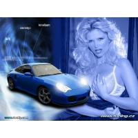 Синий порш 911 на фоне девушки в белом лифчике, картинки и прикольные обои на рабочий стол